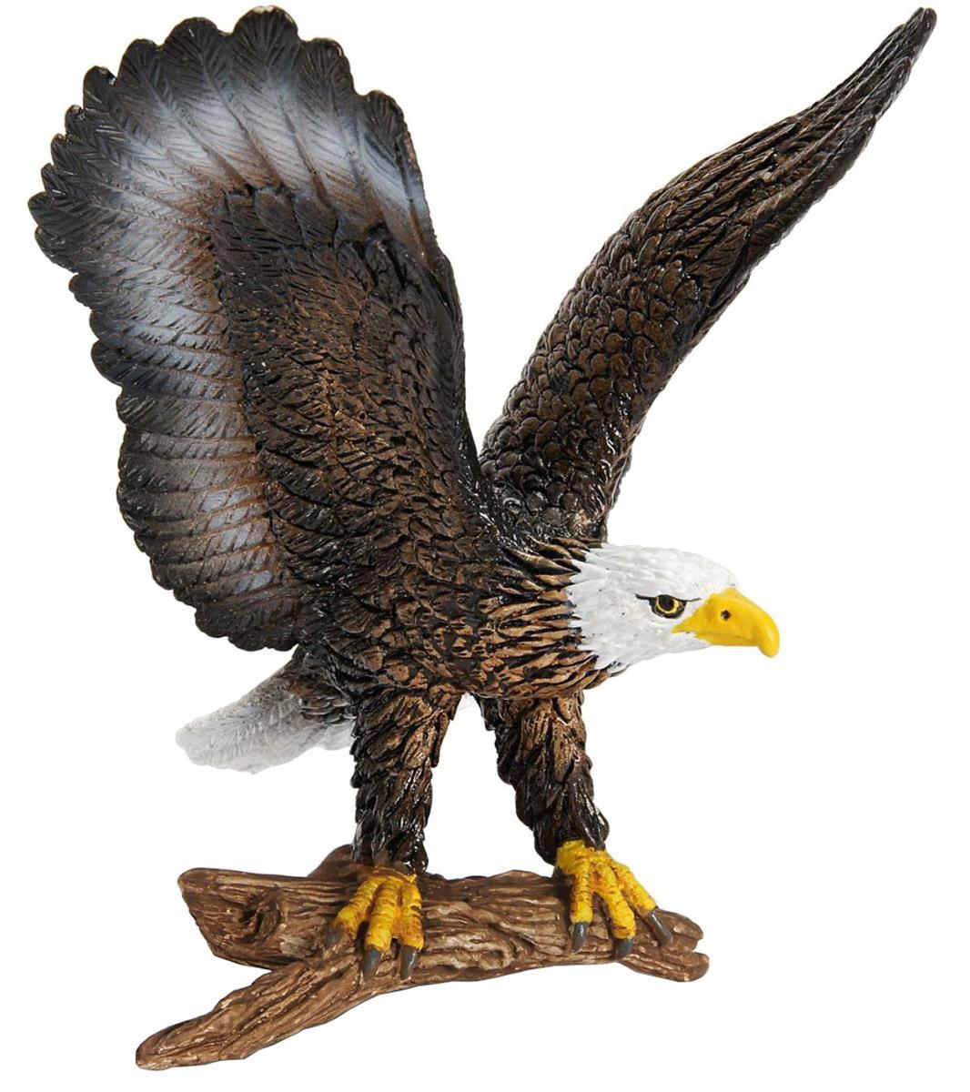 Schleich Фигурка Белоголовый орлан14634Белоголовый орлан от компании Schleich - реалистичная фигурка самой популярной птицы в Америке. Орлан крупная хищная птица, символ США. Белоголовый орлан с красивым коричневым оперением, сильными яркими когтями и цепким клювом, расправив свои мощные крылья, стремится слететь с дерева в поисках добычи. Фигурки Schleich раскрашиваются вручную с особенной детальной прорисовкой. Фигурки данной серии познакомят детей с необычными птицами и млекопитающими разных стран мира. Серия представляет птиц и животных, которых ребенок может редко встретить в реальной жизни.