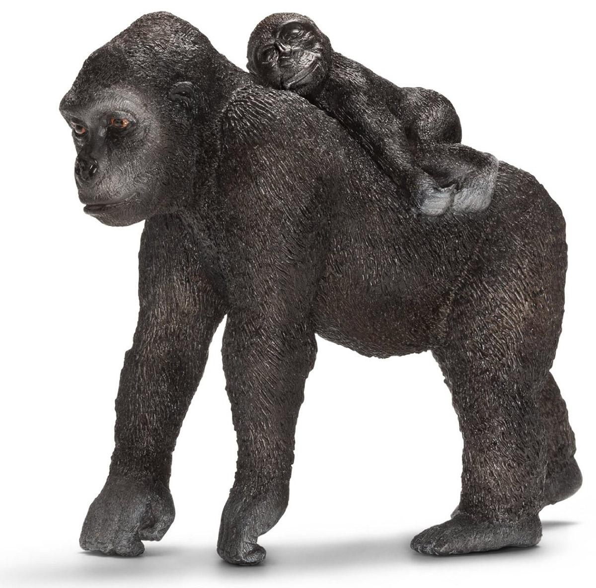 Schleich Фигурка Самка гориллы с детенышем14662Африка - континент больших табунов, опасных хищников, серых великанов и невообразимого разнообразия видов. Гориллы - самые крупные представители семейства приматов. Несмотря на довольно устрашающий внешний вид, острые клыки и мускулистое тело, гориллы питаются исключительно растениями. Фигурки Schleich выполнены из безопасного для здоровья детей каучукового пластика с максимальной точностью, каждая фигурка раскрашивается вручную. Реалистичные фигурки детально точно воспроизводят настоящих животных, обитателей различных стран. Ребенок сможет изучать особенности их строения, поведения и питания. Фигурки Schleich - превосходный педагогический материал для использования дома и в образовательных учреждениях.