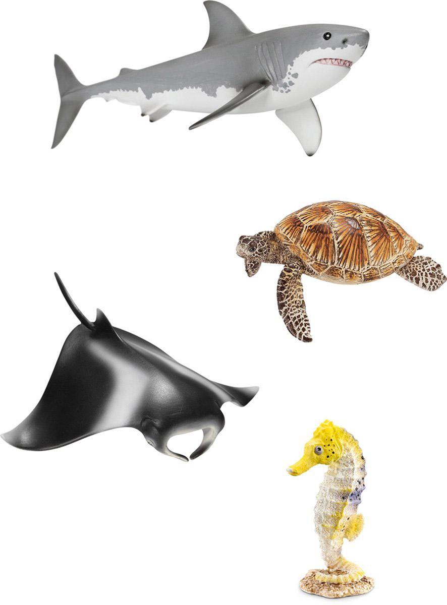 Schleich Набор фигурок Животные океана 4 шт41407Набор фигурок Schleich Животные океана придется по душе вашему ребенку! На северном берегу Австралии располагается самый большой коралловый риф в мире. Это впечатляющая и вместе с тем чувствительная экосистема. Кажется, что количество животных и растений, обитающих там, бесконечно. Там живут красочные яркие рыбки, морские черепахи, скаты, акулы и морские коньки. Прекрасно выполненные фигурки Schleich отличаются высочайшим качеством игрушек ручной работы. Набор включает в себя: акулу, черепаху, ската и морского конька. Каждая фигурка разработана с учетом исследований в области педагогики и производится как настоящее произведение для маленьких детских ручек. Сюжетно-ролевые игры с фигурками развивают фантазию и воображение ребенка.