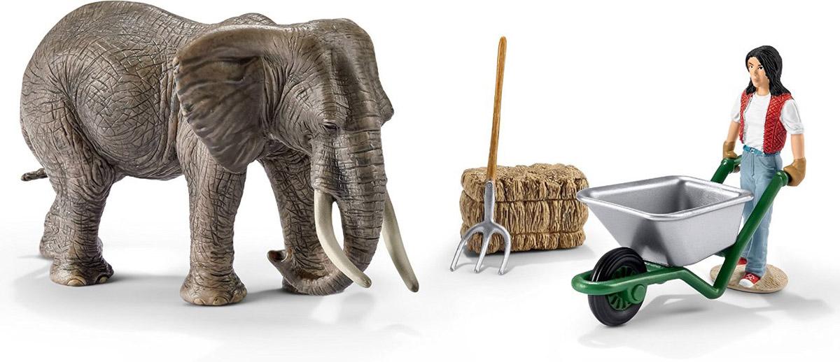 Schleich Набор фигурок Уход за слоном41409Набор фигурок Schleich Уход за слоном порадует каждого поклонника миниатюрных животных. Набор со слоном и фигуркой человека сделает игру увлекательной и познавательной с возможностью включения неограниченного количества игрушек. Набор включает в себя: слона, сено, грабли, сотрудника зоопарка с тачкой. Слонам в зоопарках необходимо много внимания и заботы. Для этого сотрудники зоопарка ежедневно приносят им чистую воду и свежий корм. С помощью этого уникального набора ребенок сможет придумать множество увлекательных сюжетов для игры. Элементы набора детально проработаны и выглядят максимально реалистично. Фигурки Schleich выполнены из безопасного для здоровья детей каучукового пластика с максимальной точностью, каждая фигурка раскрашивается вручную.