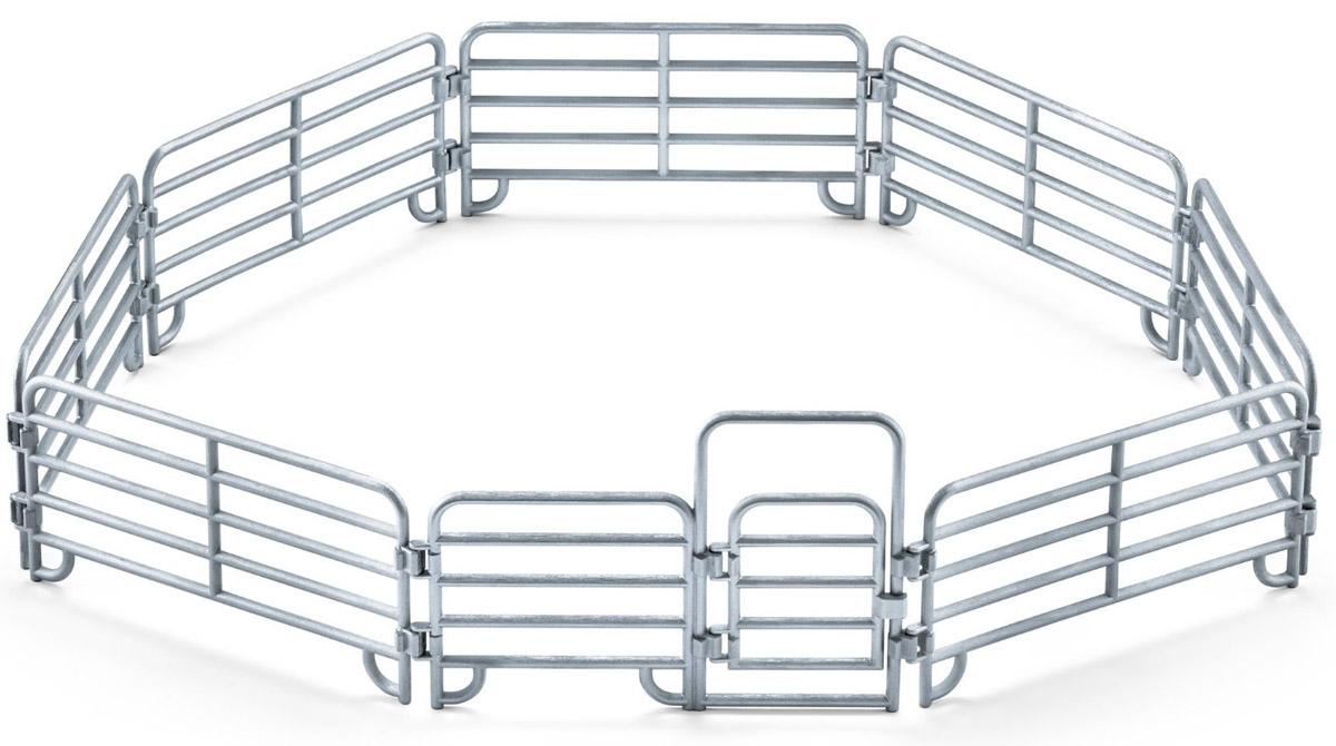 Schleich Загон для животных 4142041420Загон для животных Schleich поможет создать безопасное пространство для своих любимых фигурок. Небольшой забор, состоящий из трех продольных досок, обеспечивает отличную вентиляцию и надзор за животными. Загон легко можно настроить под размеры пастбища и количество голов скота. Прочный забор состоит из несколько частей, которые легко соединяются между собой, образуя единую стену. Его можно переносить и стыковать с другими сооружениями. Калитка в загоне открывается. Компания Schleich специализируется на выпуске детских игрушек, знакомящих с окружающей средой, развивающих творческое мышление, мелкую моторику рук.