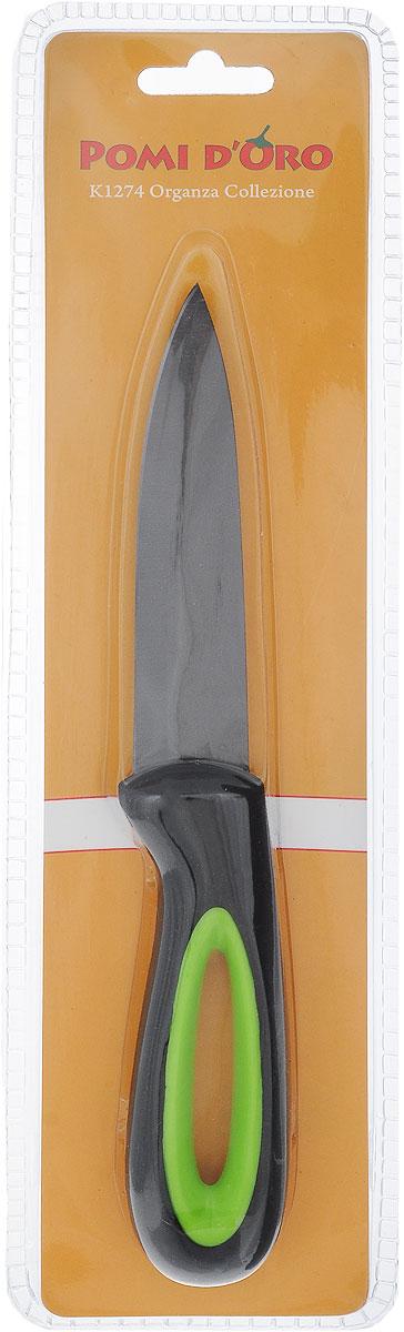 Нож универсальный Pomi d'Oro Organza, керамический, длина лезвия 12 см77.858@23612 / K1274 OrganzaНож Pomi dOro Organza изготовлен из черной керамики Kerano. Kerano - это уникальный керамический нано-материал, который не содержит вредные примеси, в том числе перфоктановую кислоту (PTFE) и примеси, используемые для легированной стали. Материал изделия не вступает в реакцию с пищей во время готовки. Изделие имеет эргономичную обрезиненную ручку, которая не скользит в руках и делает резку удобной и безопасной. Можно мыть в посудомоечной машине. Длина ножа: 23,5 см.