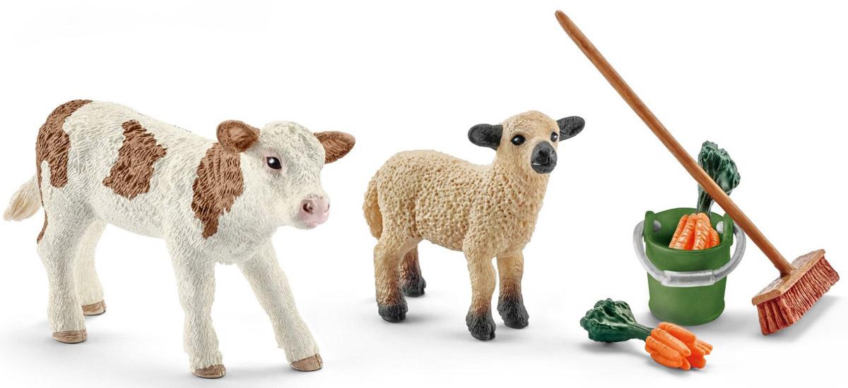 Schleich Набор фигурок Уход за животными с теленком и ягненком41422Набор фигурок Schleich Уход за животными с теленком и ягненком сделать игру еще более увлекательной, а жизнь в игрушечной ферме - полноценной и удобной. В наборе представлены теленок, ягненок, ведро, щетка и морковь. Все игрушки из набора выполнены из качественного каучукового пластика с мельчайшей прорисовкой деталей. Игровые элементы имеют реалистичный внешний вид, приятны на ощупь и позволяют детям играть с большим удовольствия. В процессе игры у ребенка развивается мелкая моторика, стимулируется развитие речи, логическое мышление.
