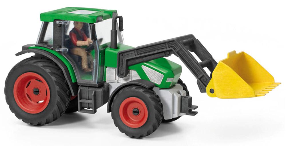 Schleich Трактор с водителем42052Трактор с водителем Schleich - игрушка из серии фермерское хозяйство. Игрушки из этой серии развивают у ребенка мышление и фантазию. Трактор выполнен из пластика ярких цветов, что положительно влияет на развитие цветового восприятия у ребенка. Игрушка многофункциональная, имеется подвижный ковш, которым можно загребать, поднимать и перевозить предметы, а также сыпучие материалы: землю, песок. У трактора открываются двери кабины, водителя можно достать из кабины, что очень нравится детям.