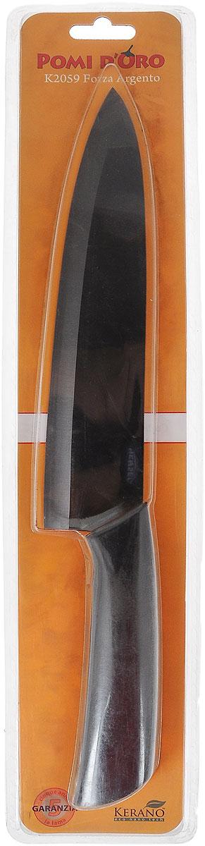 Нож поварской Pomi d'Oro Forza, керамический, длина лезвия 20 см77.858@19751 / K2059 Forza ArgentoНож Pomi dOro Forza изготовлен из высококачественной черной керамики Kerano - гигиеничного, экологически чистого нано-материала. Нож имеет острое лезвие, не требующее дополнительной заточки. Эргономичная рукоятка, выполненная из стали с прорезиненным покрытием, не скользит в руках и делает резку удобной и безопасной. Такой нож подходит для нарезки овощей, фруктов, рыбы и мяса без костей. Керамика - это отличная альтернатива металлу. В отличие от стальных ножей, керамические ножи не переносят ионы металла в пищу, не разрушаются от кислот овощей и фруктов и никогда не заржавеют. Нож Pomi dOro Forza будет служить вам многие годы при соблюдении простых правил. Можно мыть в посудомоечной машине. Общая длина ножа: 32,3 см. Толщина лезвия: 2 мм.