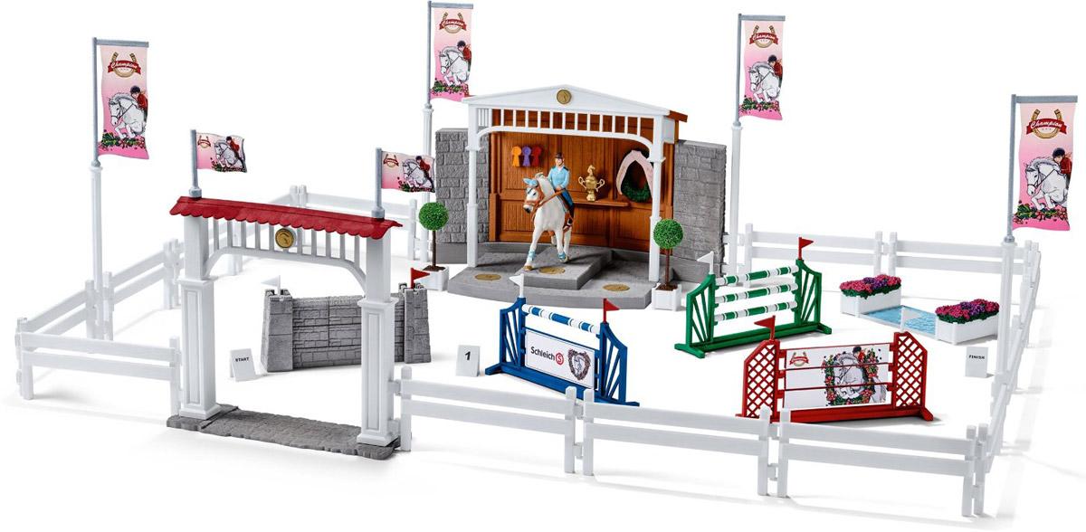 Schleich Игровой набор Большая конная арена42160Восхитительный игровой набор Schleich Большая конная арена приведет в восторг всех любителей игрушечных лошадей и наездниц. Набор позволит ребенку устроить увлекательные соревнования со своими любимыми лошадками. Превосходная белоснежная арена, яркие декоративные элементы и интересные препятствия понравятся каждому поклоннику фигурок лошадок Schleich и подойдут для создания реалистичных игр. В набор входят детали для сборки игровой арены, ворота, препятствия и пьедестал победителя. Фигурка наездницы с лошадью также в комплект! Набор выполнен из прочных качественных материалов, безопасных для детей.