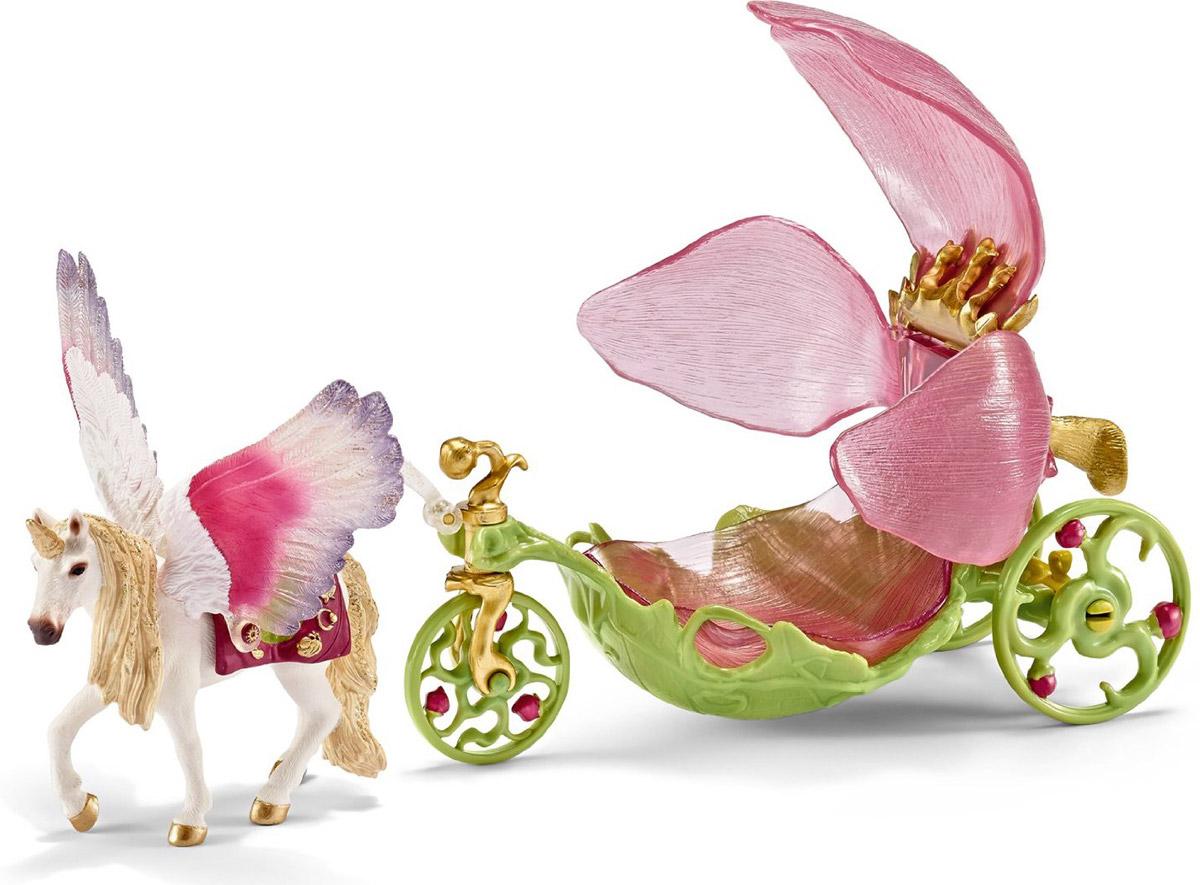 Schleich Игровой набор Карета для эльфов42176Изящная карета эльфов станет прекрасным украшением вашей коллекции Schleich. Карета, запряженная красивым единорогом, выполнена в нежных розовых и зеленых тонах. Сиденье кареты с лепестками раскрывается и, перевернув его, можно использовать перевозку в качестве стульчика. Все детали набора раскрашены вручную гипоаллергенными нетоксичными красками. Игрушка направлена на всестороннее развитие ребенка. Во время игр у ребенка тренируется мелкая моторика, развиваются воображение, внимание, логическое и абстрактное мышления.