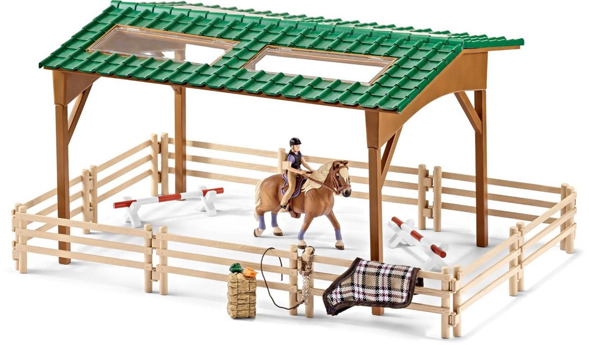 Schleich Игровой набор Площадка для верховой езды42189Игровой набор Schleich Площадка для верховой езды порадует каждого поклонника миниатюрных лошадок фирмы Schleich большим количеством интересных аксессуаров и приспособлений для увлекательных игр. Набор с большой ареной для лошадей, фигуркой наездницы и аксессуарами сделает игру увлекательной и познавательной с возможностью включения неограниченного количества игрушек. Большая арена состоит из ограждения и навеса с крышей и прозрачными окошками. Набор включает также приспособления для соревнований, необходимый корм и различные аксессуары для лошадок, которые легко крепятся на перила загона. Все элементы набора выполнены из качественного каучукового пластика, который безопасен для детей.