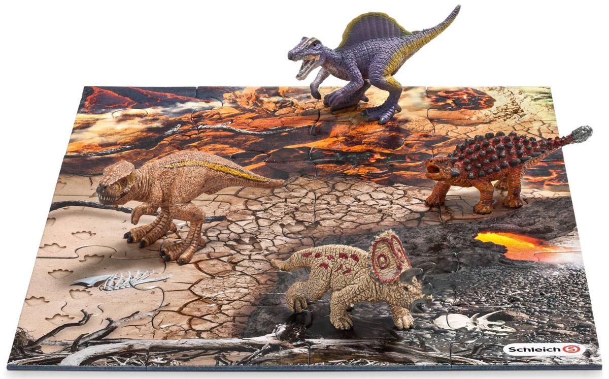 Schleich Набор фигурок Динозавры 4 шт + пазл Исследование42212Набор фигурок Schleich Динозавры приведет в восторг всех любителей динозавров и доисторических животных. В набор входят тираннозавр Рекс, спинозавр, трицератопс, сайшания. Великолепные фигурки динозавров выполнены очень детализировано. Они позволят ребенку придумать множество захватывающих игр со своими любимыми древними обитателями. Фигурки выполнены из качественного каучукового пластика, который безопасен для детей и не вызывает аллергию. В комплект с фигурками динозавров входят также 24 элемента для сборки пазла, на котором ребенок сможет расставить фигурки и начать свою захватывающую игру. Набор станет достойным пополнением красочной коллекции игрушек, восхищающей детей и взрослых во всем мире.