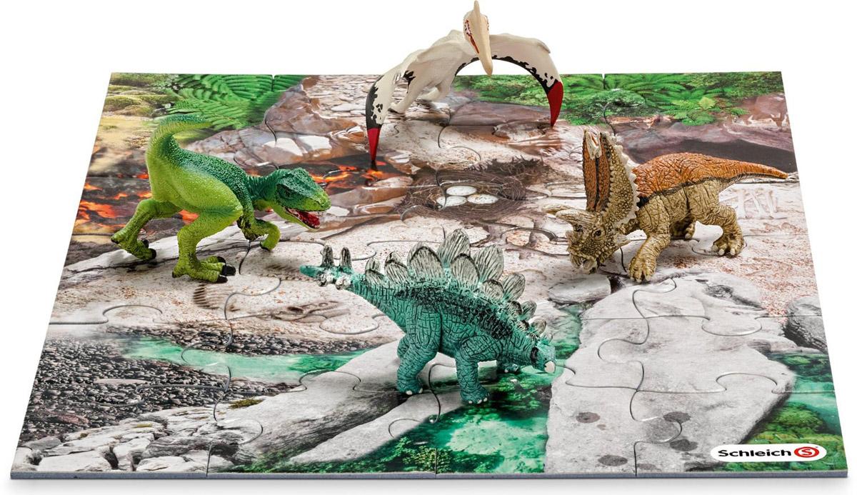 Schleich Набор фигурок Динозавры 4 шт + пазл Лавовые поля42213Набор фигурок Schleich Динозавры приведет в восторг всех любителей динозавров и доисторических животных. В набор входят тираннозавр Рекс, пентацератопс, стегозавр и кетцалькоатль. Великолепные фигурки динозавров выполнены качественно и детализировано. Они позволят ребенку придумать множество захватывающих игр со своими любимыми древними обитателями. Фигурки изготовлены из каучукового пластика, который безопасен для детей и не вызывает аллергию. В набор также входят 24 элемента для сборки пазла, на котором ребенок сможет расставить фигурки и начать свою захватывающую игру. Набор станет достойным пополнением красочной коллекции игрушек Schleich.