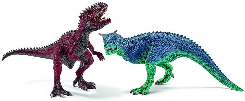 Schleich Набор фигурок Карнотавр и гигантозавр42215Набор фигурок Schleich Карнотавр и гигантозавр приведет в восторг всех любителей динозавров и доисторических животных. В набор входят карнотавр и гигантозавр. Великолепные фигурки динозавров выполнены очень детализировано. Они позволят ребенку придумать множество захватывающих игр со своими любимыми древними обитателями. Фигурки изготовлены из качественного каучукового пластика, который безопасен для детей и не вызывает аллергию. Ребенок сможет собрать целую серию доисторических животных и изучать особенности их строения, поведения и питания. Набор фигурок - превосходный педагогический материал для использования дома и в образовательных учреждениях. Набор станет достойным пополнением красочной коллекции, восхищающей детей и взрослых во всем мире.