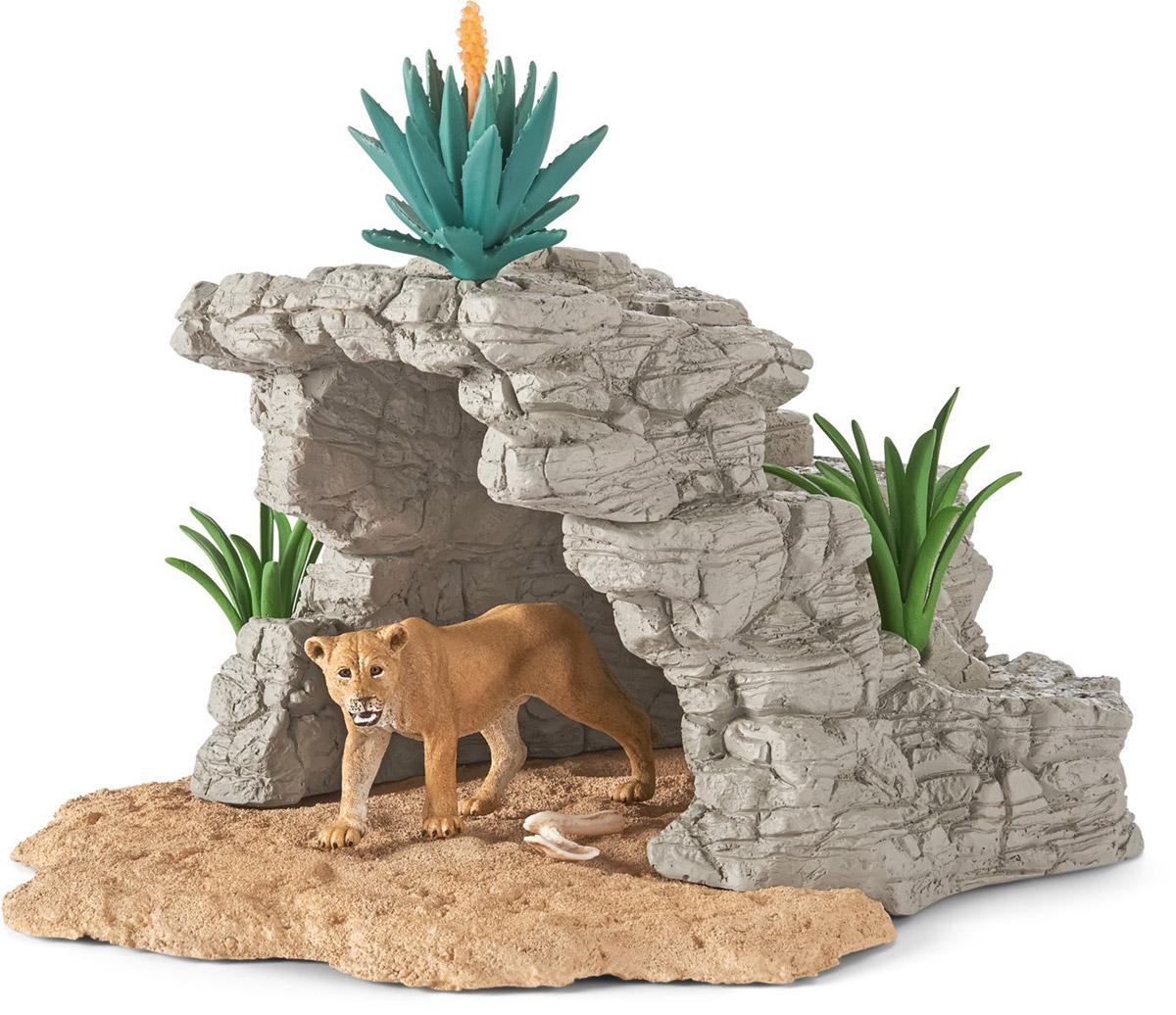 Schleich Игровой набор Пещера со львом42256Игровой набор Schleich Пещера со львом - восхитительный набор, который произведет впечатление на каждого и ребенка и увлекающегося коллекционера. В набор входят: пещера, лев, тропические растения. Фигурки Schleich выполнены из качественного материала, который безопасен для детей. Элементы приятны на ощупь, каждая игрушка выполнена с особенной тщательностью и вниманием к деталям. Игрушки раскрашиваются вручную, имеют оригинальную текстуру. Игровой набор Schleich Пещера со львом станет прекрасным подарком для всех поклонников диких животных, с которыми будет интересно устраивать увлекательные игры и наслаждаться красочными фигурами животных.
