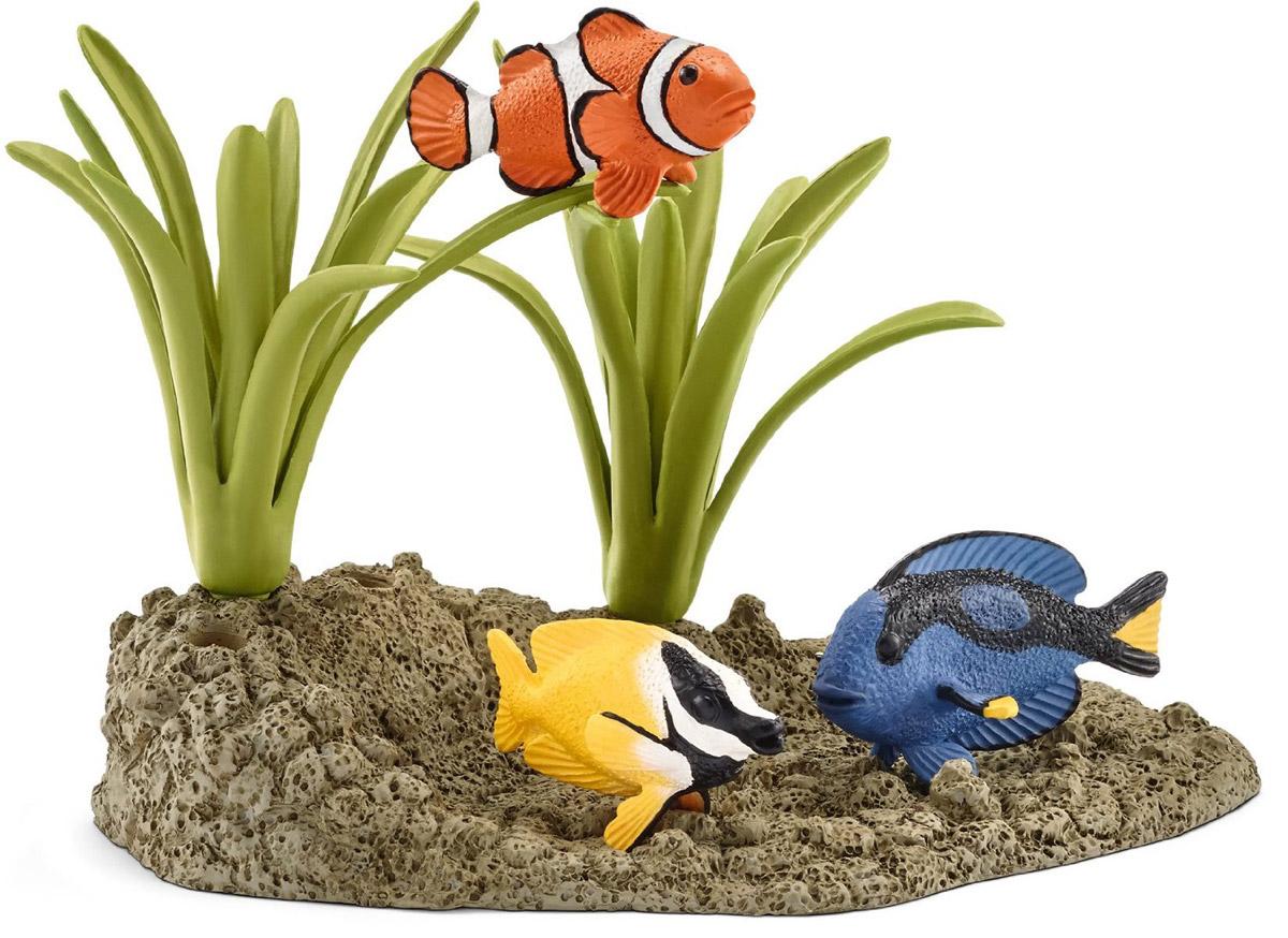 Schleich Набор фигурок Коралловые рыбки 3 шт42327Набор фигурок Schleich Коралловые рыбки позволит в интересной игровой форме рассказать ребенку о редких обитателях морских глубин. В набор входят 3 фигурки разноцветных красочных рыбок и морское дно с растениями. Такие рыбки прячутся от опасных более крупных рыб среди кораллов и в расщелинах морского дна. Фигурки животных и морских обитателей обязательно порадуют всех любителей подводного мира и разнообразят игру вашего ребенка. Прекрасно выполненные фигурки Schleich отличаются высочайшим качеством игрушек ручной работы. Каждая фигурка разработана с учетом исследований в области педагогики и производится как настоящее произведение для маленьких детских ручек. Сюжетно-ролевые игры с фигурками развивают фантазию и воображение ребенка.