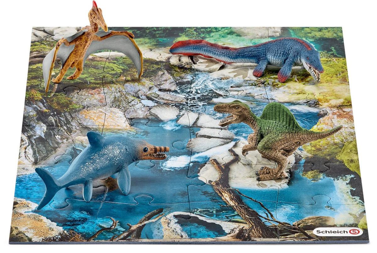 Schleich Набор фигурок Динозавры 4 шт + пазл Болото42330Набор фигурок Schleich Динозавры приведет в восторг всех любителей динозавров и доисторических животных. В набор входят ихтиозавр, мозазавр, спинозавр, кетцалькоатль. Великолепные фигурки динозавров выполнены очень детализировано. Они позволят ребенку придумать множество захватывающих игр со своими любимыми древними обитателями. Фигурки выполнены из качественного каучукового пластика, который безопасен для детей и не вызывает аллергию. В комплект с фигурками динозавров также входят 24 элемента для сборки пазла, на котором ребенок сможет расставить фигурки и начать свою захватывающую игру. Набор станет достойным пополнением красочной коллекции игрушек, восхищающей детей и взрослых во всем мире.