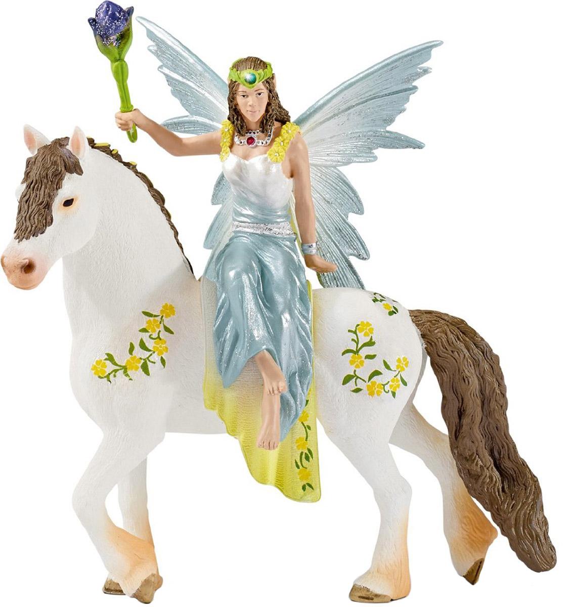 Schleich Фигурка Эльфийка Эяла на лошади70516Фигурка Schleich Эльфийка Эяла на лошади разнообразит сюжетно-ролевые фантастические игры вашего ребенка и станет прекрасным пополнением коллекции эльфов от Schleich. Эяла - лучшая подруга феи из сказочной страны Bayala. Вместе со всеми эльфами она отправилась на фестиваль, а с собой Эяла взяла волшебный цветок, с помощью которого она намерена устроить сюрприз для своих друзей. Фигурка эльфа надежно держится на лошадке благодаря встроенному магниту. Прекрасно выполненные фигурки эльфов отличаются высочайшим качеством игрушек ручной работы.