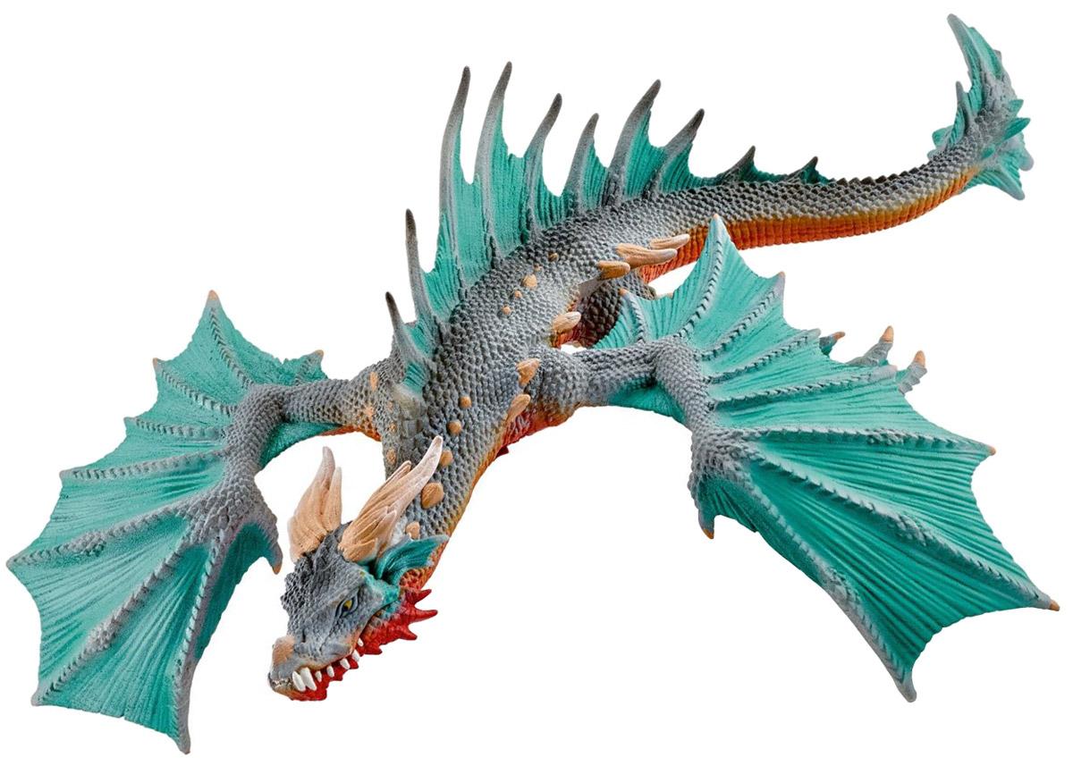 Schleich Фигурка Дракон70520Дракон прячется под водой перед тем, как молниеносно атаковать всех и каждого. Его мощные челюсти полны невероятно острых зубов, которые заставляют трепетать даже отчаянных храбрецов. Поговаривают, что дракона можно усыпить пением, но кто отважится попробовать? Дракон может даже изрыгать мощные потоки пламени под водой. Легендарный Остров Драконов расположен далеко, на сокрушаемом штормами берегу Эльдрадора. Только несколько людей побывали там, и еще меньше вернулось. Они все рассказывали истории об ужасающих драконах. Глубоководный дракон, пожалуй, один из самых опасных. Моряки смертельно боятся его, потому что дракон имеет обыкновение прятаться под водой перед тем, как молниеносно атаковать корабль, перекусив его своими мощными челюстями. Стрелы и копья не могут проникнуть под его толстую кожу, покрытую чешуей, оставляя моряков практически беззащитными перед его атакой. Старый пират как-то сказал, что прекрасная песня способна остановить атаку дракона. Но кто будет петь, когда...