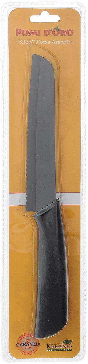 Нож для хлеба Pomi d'Oro Forza, керамический, длина лезвия 15 см77.858@19748 / K1557 Forza ArgentoНож Pomi dOro Forza изготовлен из высококачественной керамики Kerano - гигиеничного, экологически чистого нано-материала. Нож имеет острое лезвие, не требующее дополнительной заточки. Эргономичная рукоятка, выполненная из стали с прорезиненным покрытием, не скользит в руках и делает резку удобной и безопасной. Такой нож превосходно подходит для нарезки всех видов хлеба. Керамика - это отличная альтернатива металлу. В отличие от стальных ножей, керамические ножи не переносят ионы металла в пищу, не разрушаются от кислот овощей и фруктов и никогда не заржавеют. Нож Pomi dOro Forza станет прекрасным дополнением к коллекции ваших кухонных аксессуаров и не займет много места при хранении. Можно мыть в посудомоечной машине. Общая длина ножа: 27,5 см. Толщина лезвия: 2 мм.
