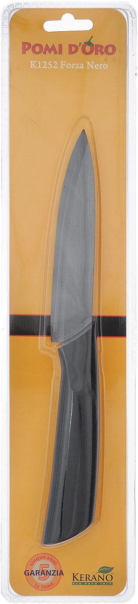 Нож универсальный Pomi d'Oro Forza, керамический, длина лезвия 12 см77.858@19732 / K1252 Forza NeroНож Pomi dOro Forza изготовлен из черной керамики Kerano. Kerano - это уникальный керамический нано-материал, который не содержит вредные примеси, в том числе перфоктановую кислоту (PTFE) и примеси, используемые для легированной стали. Материал изделия не вступает в реакцию с пищей во время готовки. Изделие имеет эргономичную обрезиненную ручку, которая не скользит в руках и делает резку удобной и безопасной. Можно мыть в посудомоечной машине. Длина ножа: 24,5 см.
