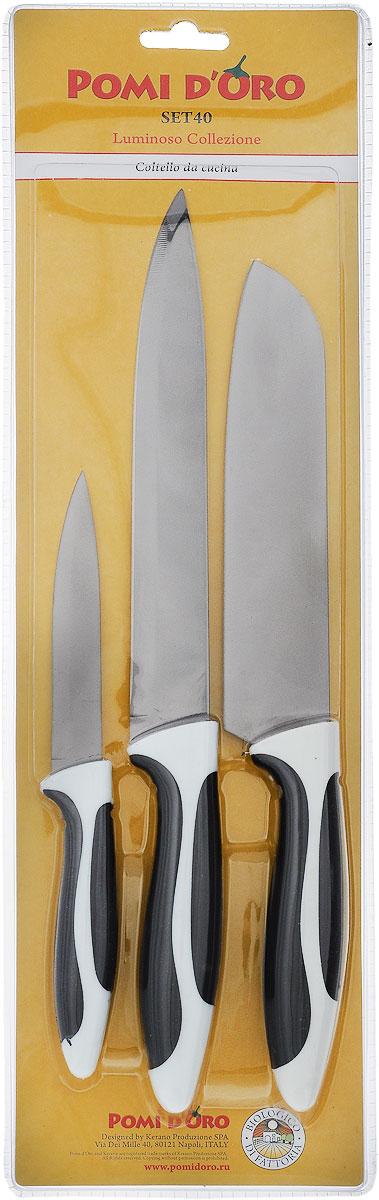 Набор ножей Pomi d'Oro Luminoso, 3 предмета. SET4077.858@23630 / SET40 LuminosoНабор Pomi dOro Luminoso состоит из трех ножей: универсального, поварского и разделочного. Лезвия изделий выполнены из высококачественной нержавеющей стали. Эргономичная рукоятка, изготовленная из стали с прорезиненным покрытием, не скользит в руках и делает резку удобной и безопасной. Длина лезвия универсального ножа: 11 см. Общая длина универсального ножа: 22 см. Длина лезвия разделочного ножа: 20 см. Общая длина разделочного ножа: 33 см. Длина лезвия поварского ножа: 17,5 см. Общая длина поварского ножа: 30,5 см.