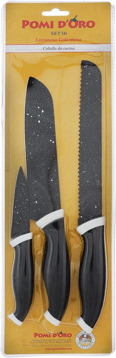 Набор ножей Pomi d'Oro Luminoso, 3 предмета77.858@23624 / SET30 LuminosoНабор Pomi d'Oro Luminoso состоит из трех ножей: овощного, поварского и хлебного. Лезвия изделий выполнены из высококачественной нержавеющей стали. Эргономичная рукоятка, изготовленная из стали с прорезиненным покрытием, не скользит в руках и делает резку удобной и безопасной. Длина лезвия ножа для чистки овощей: 8 см. Общая длина ножа для чистки овощей: 19 см. Длина лезвия ножа для хлеба: 18 см. Общая длина ножа для хлеба: 32,5 см. Длина лезвия поварского ножа: 17 см. Общая длина поварского ножа: 30 см.