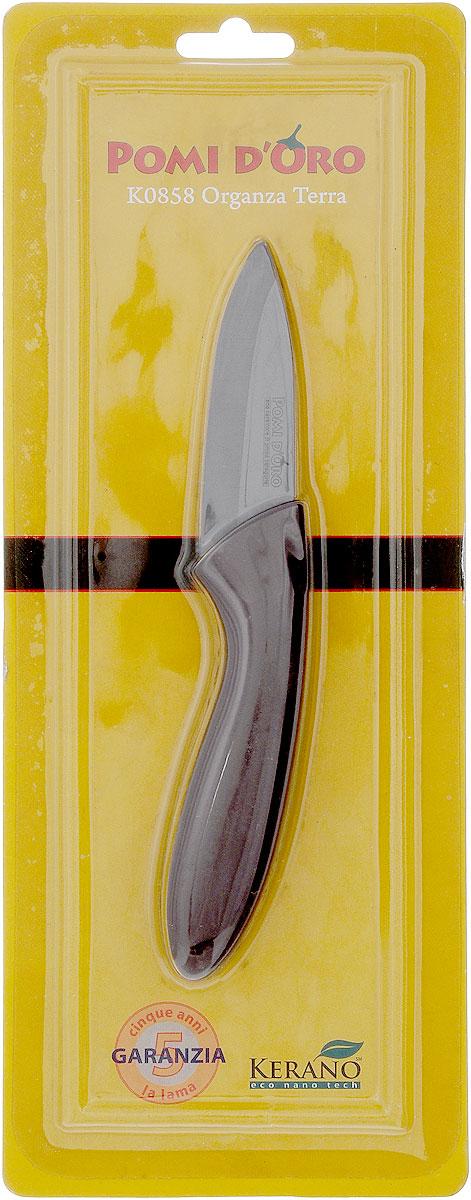 Нож для чистки овощей Pomi d'Oro Organza, керамический, длина лезвия 8 см77.858@21283 / K0858 Organza TerraНож Pomi dOro Organza изготовлен из коричневой керамики Kerano. Это уникальный керамический нано-материал, который не содержит вредные примеси, в том числе перфоктановую кислоту (PTFE) и примеси, используемые для легированной стали. Химически нейтрален, не вступает в реакцию с пищей во время готовки. Изделие имеет эргономичную обрезиненную ручку, которая не скользит в руках и делает резку удобной и безопасной. Можно мыть в посудомоечной машине. Длина ножа: 16,5 см.
