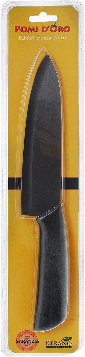 """Нож поварской Pomi d'Oro """"Forza"""", керамический, цвет: черный, длина лезвия 18 см"""