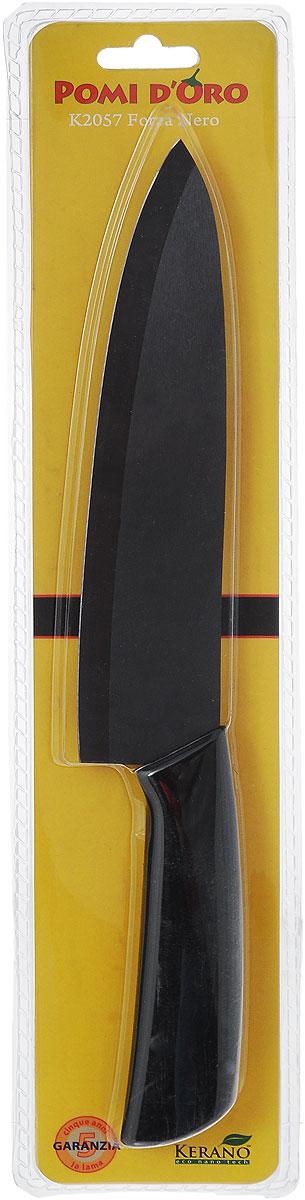 Нож поварской Pomi d'Oro Forza, керамический, длина лезвия 20 см. K205777.858@20982 / K2057 (40) Forza NeroНож Pomi dOro Forza изготовлен из черной керамики Kerano. Kerano - это уникальный керамический нано-материал, который не содержит вредные примеси, в том числе перфоктановую кислоту (PTFE) и примеси, используемые для легированной стали. Материал изделия не вступает в реакцию с пищей во время готовки. Изделие имеет эргономичную обрезиненную ручку, которая не скользит в руках и делает резку удобной и безопасной. Можно мыть в посудомоечной машине. Длина ножа: 32,5 см.