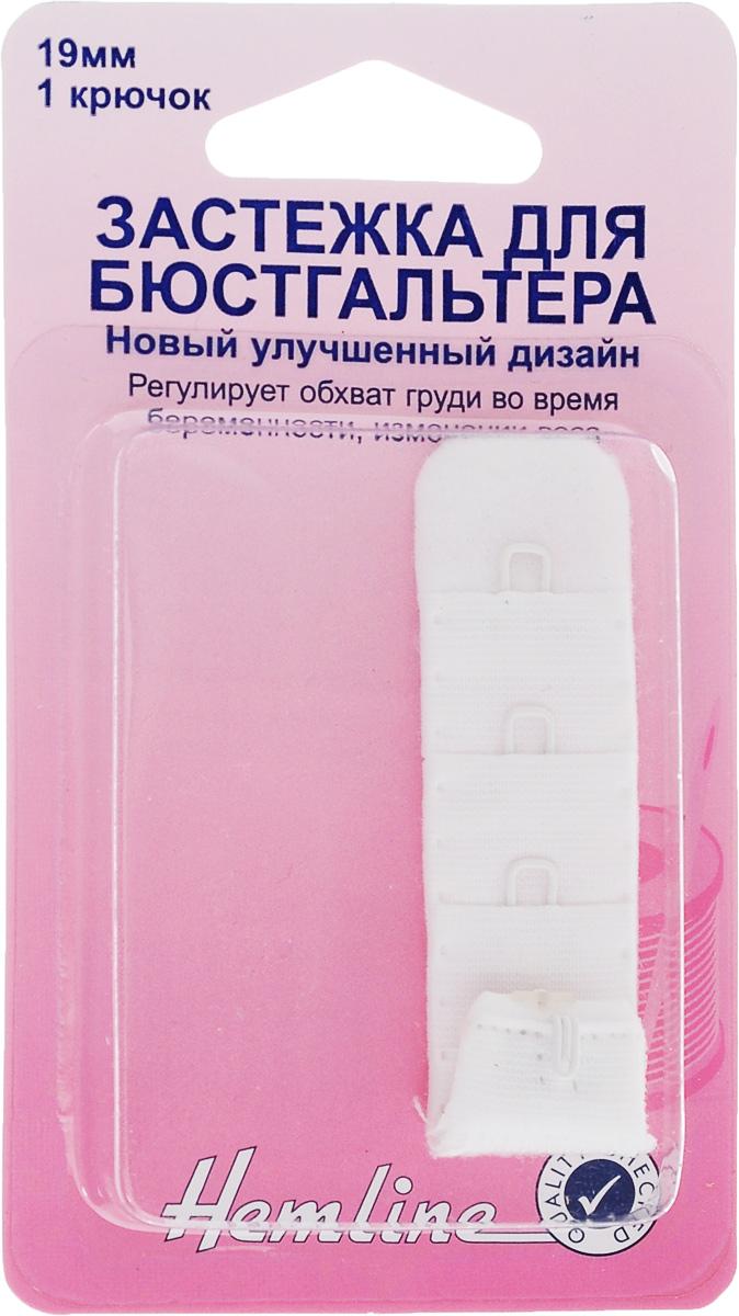 Застежка для изменения объема бюстгальтера Hemline, 1 крючок, цвет: белый, ширина 19 мм. 771.19.W771.19.WЗастежка для бюстгальтера Hemline изготовлена из 100% полиэстера и имеет 3 ряда петелек по одному металлическому крючку на каждом. Изделие предназначено для изготовления или ремонта бюстгальтеров. Такая застежка регулирует обхват груди во время беременности или при изменении веса. Застежка с защитой для кожи удобна при носке и незаметна под одеждой. Ширина: 19 мм. Количество крючков: 1.