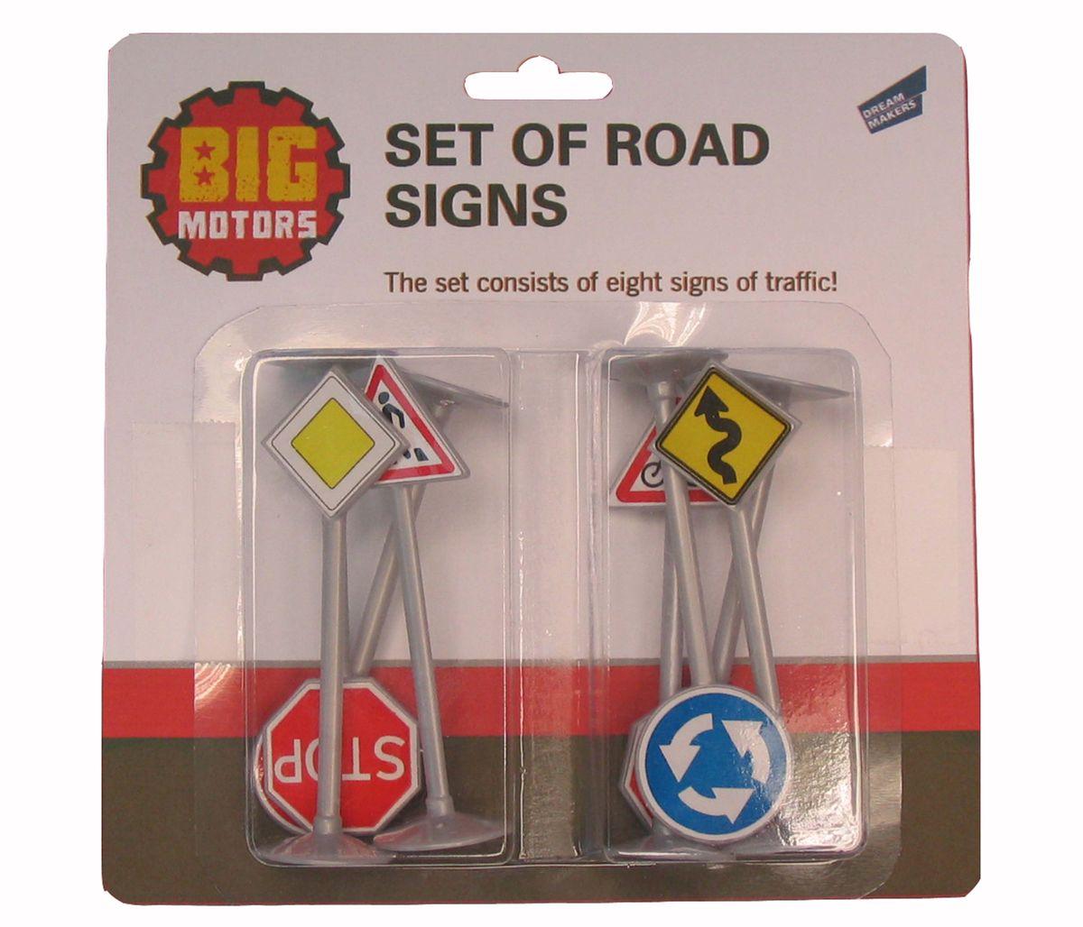 Big Motors Набор игровой Знаки дорожного движения1326В набор входит 8 знаков дорожного движения с наклеенными пиктограммами. 3 варианта набора с разными пиктограммами на знаках дорожного движения под одним артикулом.