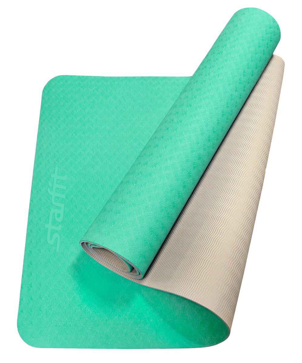 Коврик для йоги Starfit, цвет: мятный, серый,173 x 61 x 0,6 смУТ-00008848Коврик для йоги FM-201 - это модель коврика Star Fit, выполненная из термопластичного эластомера, наиболее прочная и износостойкая, а также же имеет яркий и очень привлекательный внешний вид, поэтому она привлекает клиентов именно в сторону Star Fit. Коврики TPE Star Fit незаменимый аксессуар для любого спортсмена как во время тренировки, так и во время пре-стретчинга (растяжки до тренировки) и стретчинга (растяжки) после тренировки. Коврики TPE Star Fit используются в фитнесе, йоге, функциональном тренинге. Их используют спортсмены различных видов спорта в своем тренировочном процессе. Предпочтительно использовать без обуви. Если в обуви, то с мягкой подошвой, чтобы избежать разрыва поверхности коврика. Люди, занимающиеся медитацией, также делают выбор в пользу Star Fit. Характеристики: Тип: коврик для йоги и фитнеса Материал: ТРЕ (Термопластичные эластомеры) Длина, см: 173 Ширина, см: 61 Толщина, см: 0,6 Цвет: мятный, серый Количество в упаковке, шт: 1 Производитель: КНР