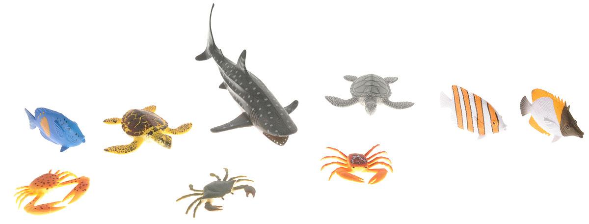 Wenno Набор фигурок Животные океана 9 штWIN06001Набор фигурок Wenno Животные океана познакомит вашего ребенка с окружающим миром. В набор входят девять фигурок - черепахи, крабы, рыбки и другие, которые имеют высокую степень сходства с настоящими животными. Фигурки выполнены с максимальной детализацией, чтобы дать ребенку представление о том, как выглядят животные в природе. Набор фигурок Wenno Животные океана - отличная возможность посетить океанариум, не выходя из дома. Фигурки изготовлены из качественного материала, не токсичны и не вызывают аллергию. В набор входят карточки. Вам необходимо скачать сканер QR кодов, выбрать язык (по умолчанию - английский). Просканируйте QR код на каждой карточке, приложение покажет информацию о разных животных.