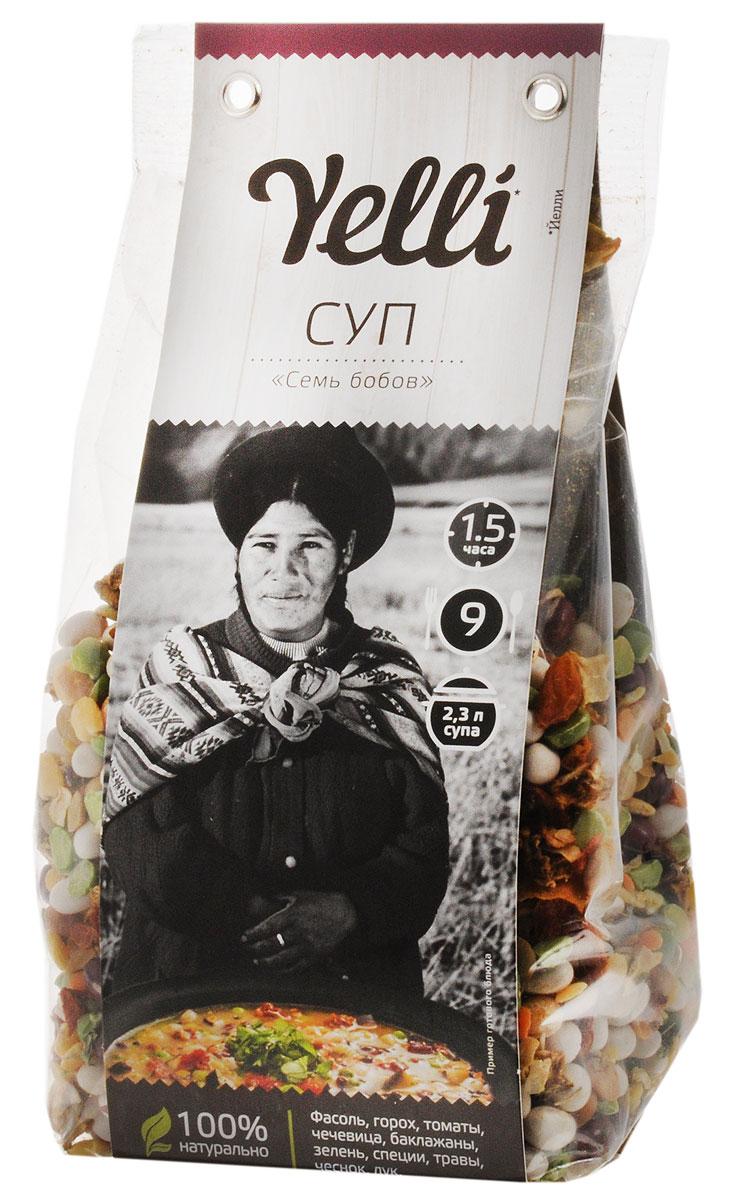 Yelli суп семь бобов, 250 гЕЛ 115/7Суп Yelli Семь бобов - это мексиканский овощной суп с бобовыми. Основу этого супа составляет фасоль, так популярная в мексиканской кухне. Для любителей остроты рекомендуем во время приготовления добавить перчик чили. Подавайте это изысканное блюдо с кукурузными лепешками и сметаной.