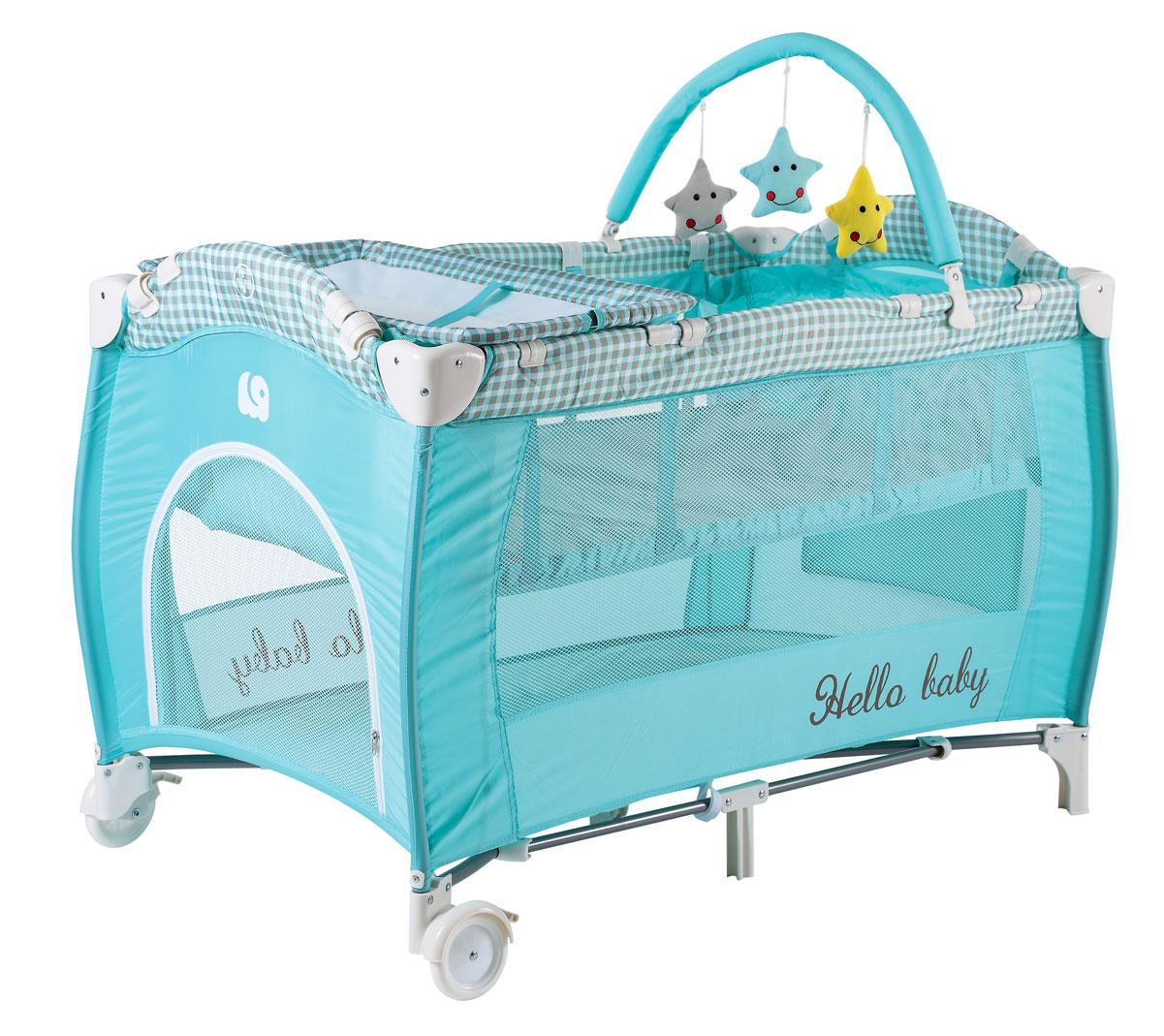 Happy Baby Кровать-манеж HB-12 Aqua4650069783572второй уровень, дуга с игрушками лаз колеса пеленальный столик Возраст: от рождения Максимальный вес ребенка: 0-15 кг Пеленальный столик: до 11 кг (возраст до года) Максимальная нагрузка на второе дно: 9 кг Размеры в разложенном виде ДхШхВ: 120х68х76 см Размеры в сложенном виде ДхШхВ: 22х23х78 см Размеры матрасика (спального места): 116*63 см Размер пеленального столика: 68х37 см Вес манежа: 10,2