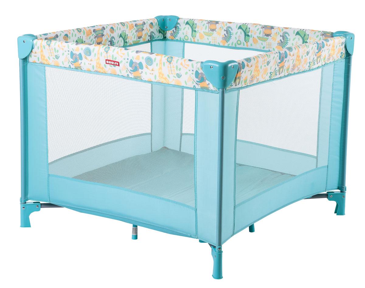 Happy Baby Игровой манеж HB-8090 Aqua4650069783596квадратный манеж, размер 93*93, сумка с застежкой-молнией, сетчатые стенки для лучшей циркуляции воздуха Возраст: 0-4 года Максимальный вес ребенка: 1-15 кг