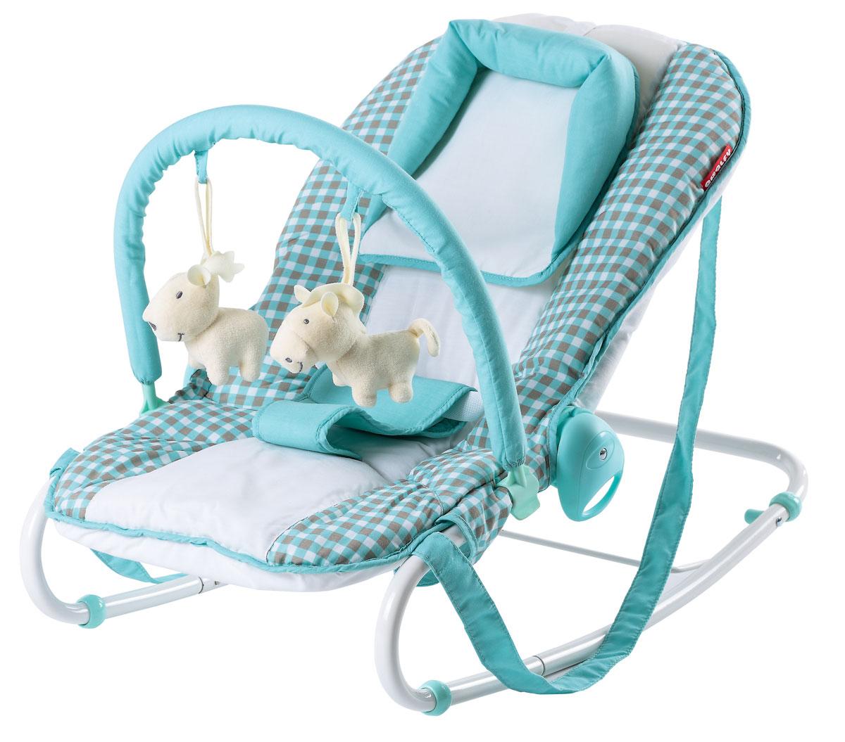 Happy Baby Шезлонг НB-8023 Т Aqua4650069783558Регулировка наклона, 3 положения Трехточечные ремни безопасности ограничители движения Съемная дуга с игрушками Удобная ручка для переноски Рекомендуемый возраст: от рождения до 6 месяцев Максимальный вес ребенка: 9 кг Размеры в разложенном виде ДхШхВ: 42х64х57 см Размеры в сложенном виде ДхШхВ:44х12х50 см Длина сиденья: 75,5 см Ширина сиденья:18 см Вес шезлонга: 3,6 кг