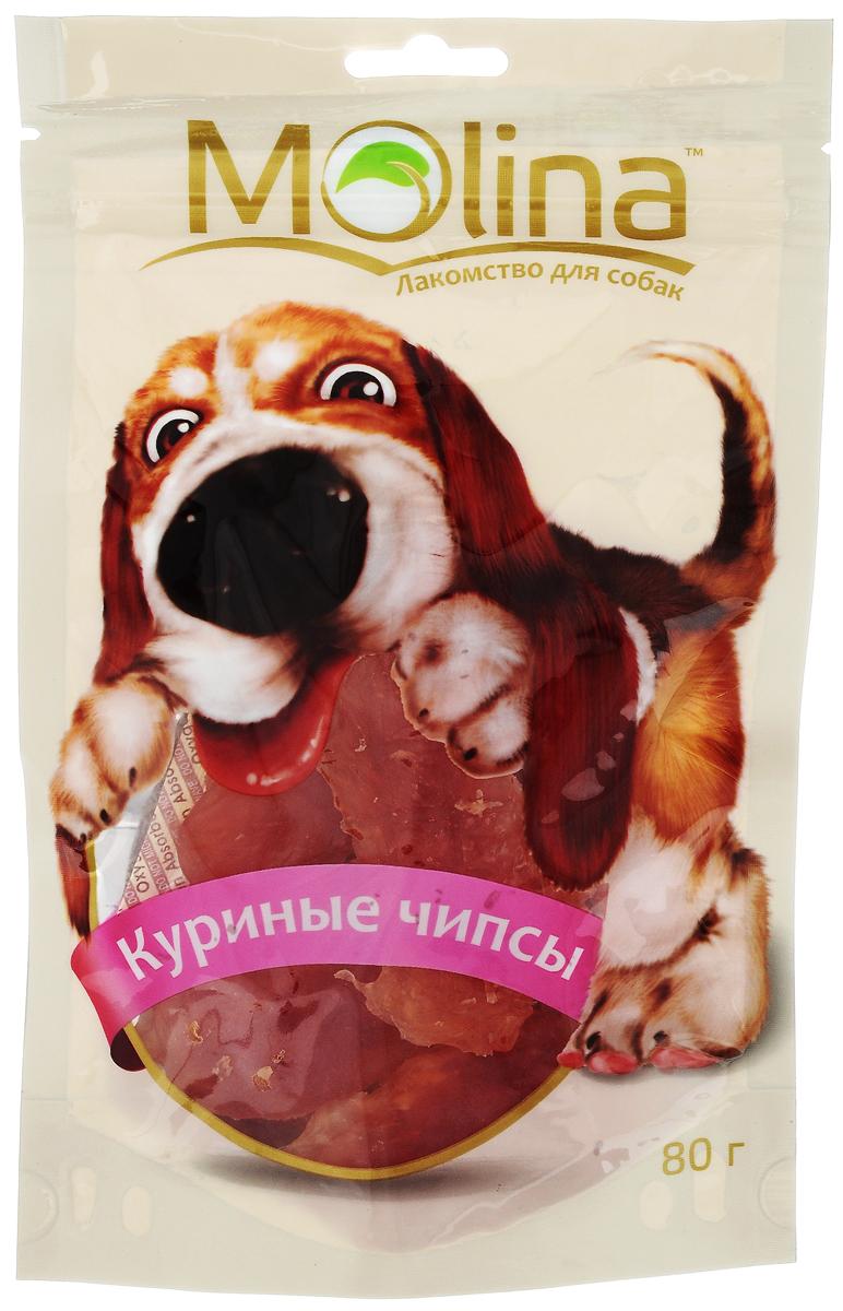 Лакомство для собак Molina Куриные чипсы, 80 г4620002670696Лакомство Molina в виде куриных чипсов удовлетворяет естественный жевательный инстинкт вашей собаки. Укрепляет челюсть и жевательную мускулатуру. Очищает зубы и предотвращает образование зубного камня. Лакомство содержит глицин, благотворно влияющий на кожу и шерсть. Товар сертифицирован.