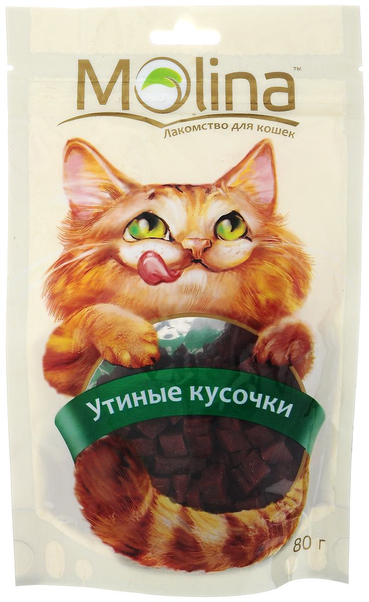 Лакомство для кошек Molina Утиные кусочки, 80 г4620002671242Лакомство для кошек Molina Утиные кусочки состоит из 100% натурального мяса. Лакомство способствует очищению зубов и предотвращает образование зубного камня. Содержит жирные кислоты и таурин для здоровой и блестящей шерсти. Обогащено всеми необходимыми витаминами и минералами. Товар сертифицирован.