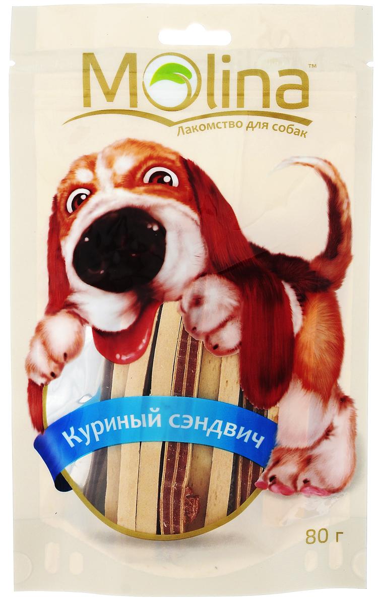 Лакомство для собак Molina Куриный сэндвич, 80 г4620002670658Лакомство Molina в виде куриных сэндвичей удовлетворяет естественный жевательный инстинкт вашей собаки. Укрепляет челюсть и жевательную мускулатуру. Очищает зубы и предотвращает образование зубного камня. Лакомство содержит глицин, благотворно влияющий на кожу и шерсть. Товар сертифицирован.