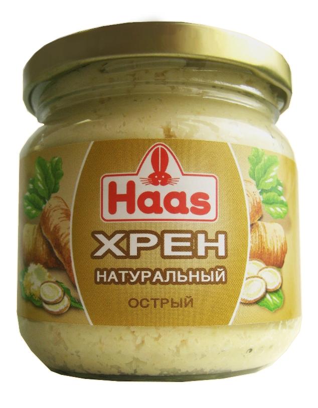 Хрен HAAS натуральный - знакомый всем классический острый соус к мясу или рыбе.
