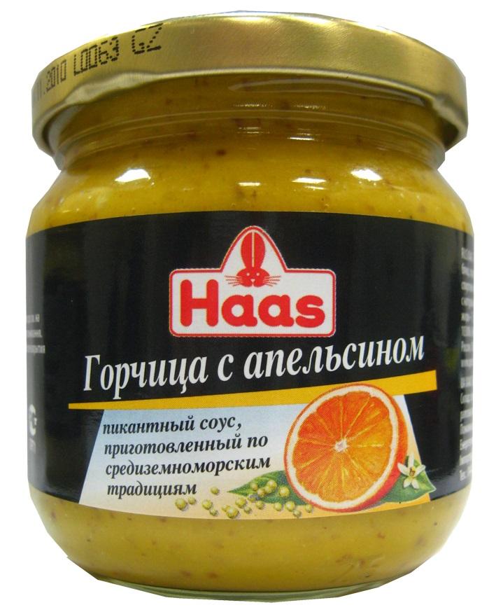 Haas горчица с апельсином, 210 г
