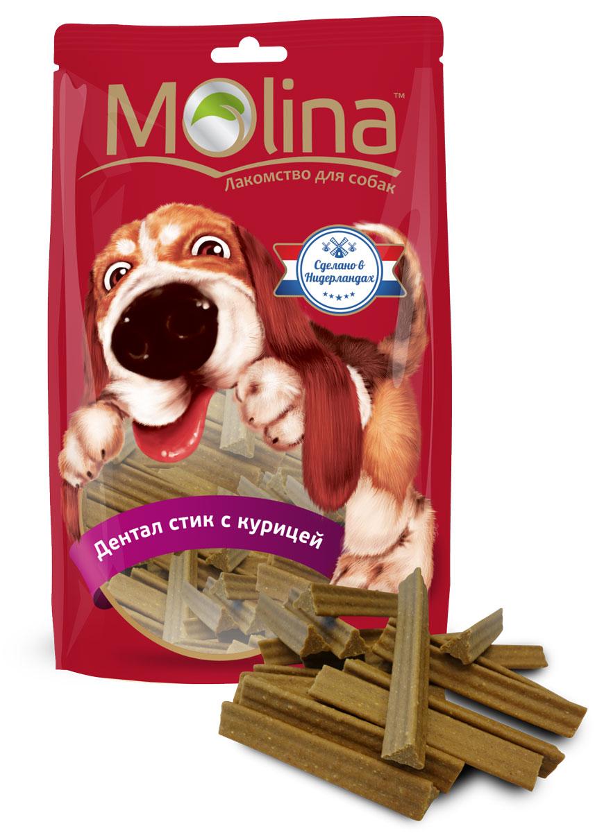 Лакомство для собак Molina Дентал стик, с курицей, 140 г20416Лакомство для собак Molina Дентал стик из Голландии предназначено для собак средних и крупных пород. Это лакомство для чистки зубов. Дентал стик с курицей легко жуется и имеет приятный вкус. Треугольная форма и специальная волнистая кромка помогает чистить зубы от зубного налёта. Добавка цеолита улучшает функцию очищения зубов. Состав: злаковые, мясо курицы (4%) и мясные субпродукты, производные растительного происхождения, масла и жиры, минералы (цеолит 1,5%). Пищевая ценность: белок 10%, жир 3,5%, зола 3%, клетчатка 1%, влажность 17%. Добавки: консерванты и ароматизаторы, разрешенные ЕС. Энергетическая ценность 302 ккал/100 г. Товар сертифицирован.