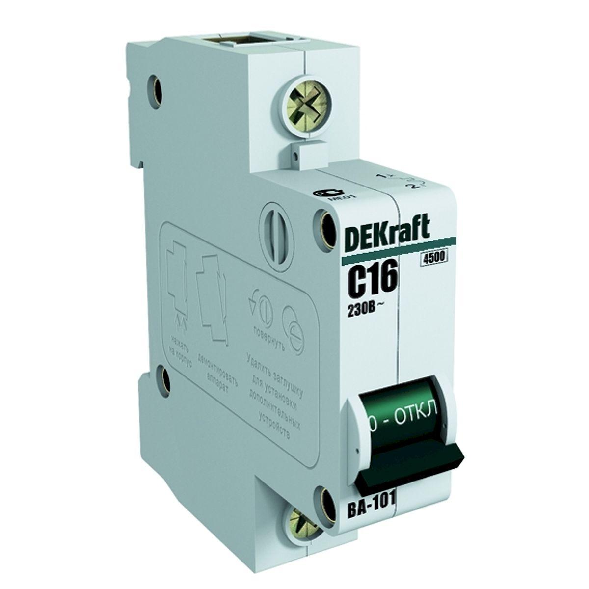 Автоматический выключатель Schneider Electric DEKraft, 1Р 16А х-ка C 4,5кА. 11054DEK11054DEK