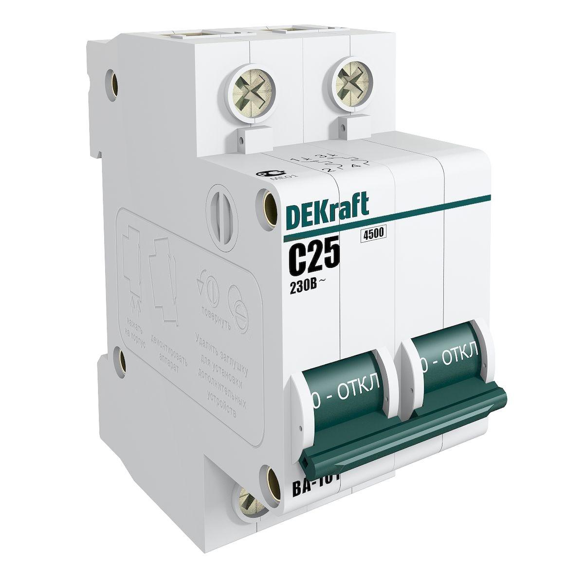 Автоматический выключатель Schneider Electric DEKraft, 2Р 25А х-ка C 4,5кА. 11068DEK11068DEK
