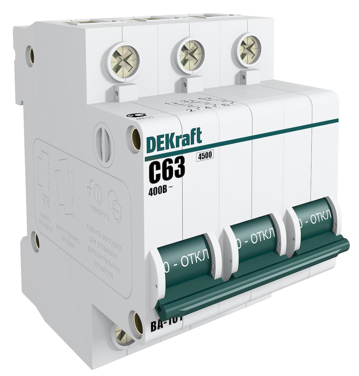 Автоматический выключатель Schneider Electric DEKraft, 3Р 63А х-ка C 4,5кА. 11084DEK11084DEK