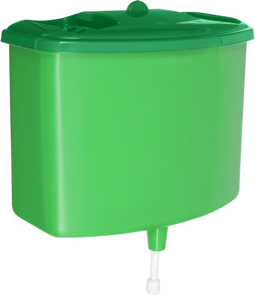 Рукомойник Альтернатива, цвет: зеленый, 5 лM367Рукомойник Альтернатива изготовлен из пластика. Он предназначен для умывания в саду или на даче. Яркий и красочный, он отлично впишется в окружающую обстановку. Петли предоставляют вертикальное крепление рукомойника. Рукомойник оснащен крышкой, которая предотвращает попадание мусора. Также на крышке имеет две выемки для мыла. Рукомойник Альтернатива надежный и удобный в использовании. Размер рукомойника: 26,5 см х 15 см. Высота (без учета крышки): 23 см.