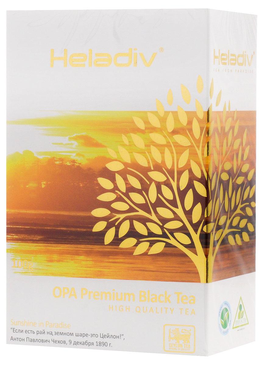 Heladiv Opa чай черный листовой, 100 г4791007008347Heladiv Opa - цейлонский черный крупнолистовой цельный скрученный байховый чай, класс А (ОРА). Обладает приятным, насыщенным вкусом, изысканным ароматом и настоем темного цвета. Укрепляет сосуды, утоляет жажду, стимулирует работу мозга, освежает и тонизирует организм.