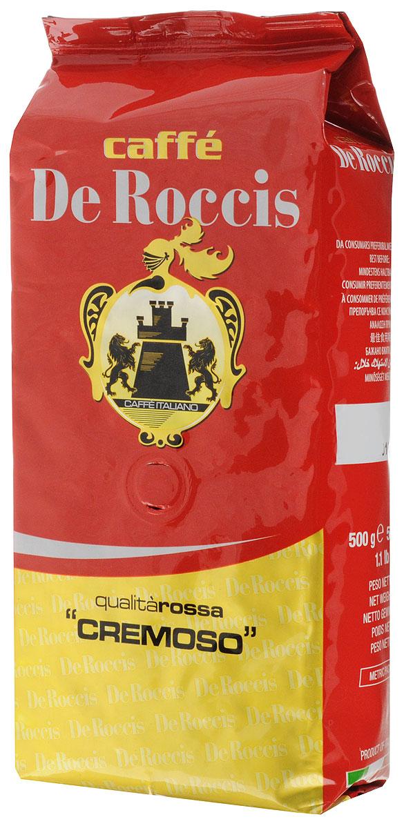De Roccis Rossa Cremoso кофе в зернах, 500 г8016115000516Кофейный купаж De Roccis Rossa Cremoso средней сладости создан из лучших сортов зерен Арабики и Робусты, придающих напитку длительное послевкусие и тонкий аромат.