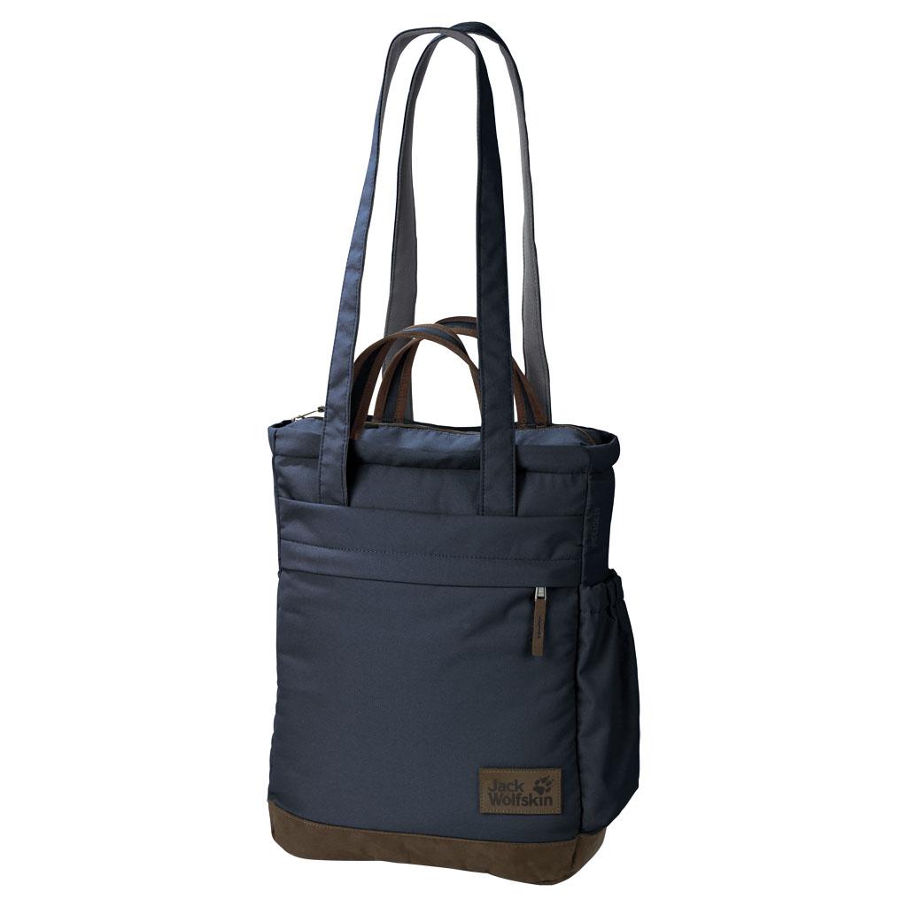 Сумка городская Jack Wolfskin Piccadilly, цвет: темно-синий, 15 л. 2004003-10102004003-1010Сумка для покупок с регулируемыми лямками. Превращает перевозку покупок в удовольствие: PICADILLY — наша универсальная сумка для покупок на рынке, в городе и в путешествии. Причем здесь предусмотрено несколько вариантов ношения: либо как сумку через плечо за длинные лямки, либо за короткие лямки в руке, либо как рюкзак на спине. Одну плечевую лямку можно просто спрятать сбоку. PICADILLY относится к серии Vintage (Винтаж), по-новому представляющей популярные классические модели JACK WOLFSKIN. Мы сделали детали отделки более современными. При этом прочный полиэфирный материал 600D, особенный внешне и на ощупь, дно из искусственной замши и природные цвета типичны для этой товарной группы.