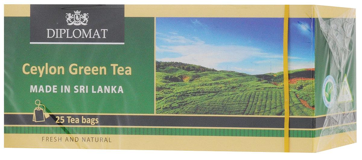 Diplomat Ceylon Green Tea Classic Blend чай зеленый в пакетиках, 25 шт