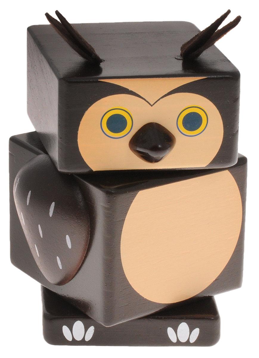 Бомик Пирамидка Сова810Пирамидка Бомик Сова, выполненная из натурального дерева, привлечет внимание ребенка. Пирамидка позволит ребенку в форме игры узнать части тела птицы. Яркая игрушка не имеет острых сторон. Все детали окрашены абсолютно безопасными водорастворимыми красителями в коричневый, бежевый, желтый и черный цвета. Собирание пирамидки способствует развитию мелкой моторики рук, координации, логического и пространственного мышления, сенсорного восприятия, тренирует память и внимание.